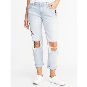 OLD NAVY Floral Embroidered Straight Jean